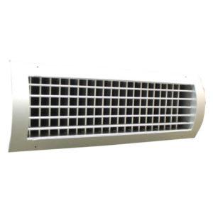 Grila pentru tubulatura circulara 350 x 150 mm T2P-SR-D/DK din aluminiu anodizat cu dubla deflexie si damper pentru sisteme de ventilatie si climatizare Hoteluri Restaurante Cafenele Cluburi Birouri